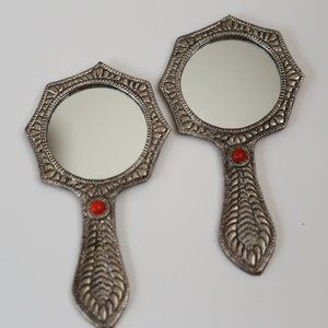 2NWT Red Metal carved hand mirror antique silver
